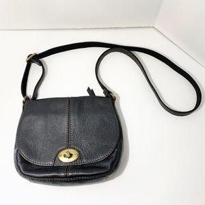 Fossil | Black Crossbody Saddle Bag Gold Hardware